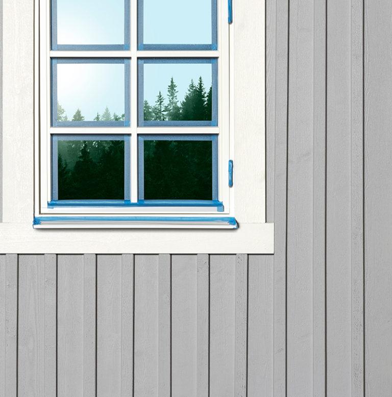 fönster med maskeringstejp