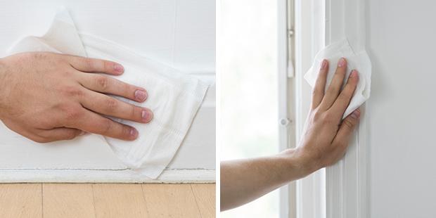 Tvätta lister och karmar med engångstvätt