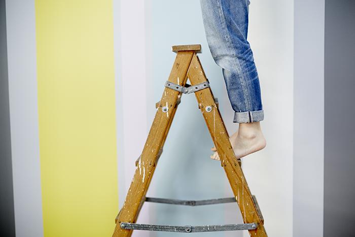 Måla randig vägg