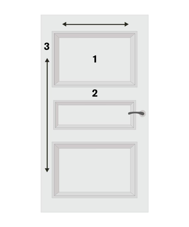 Dörr med märkning i tre steg